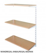 Wandregal - Anbauregal 20 x 40 x 100 cm, 3 Fachboden - Farbe Weiss, Boden Buche