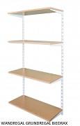 Wandregal - Grundregal 20 x 40 x 150 cm, 4 Fachboden - Farbe Weiss, Boden Buche