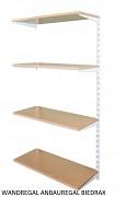 Wandregal - Anbauregal 20 x 40 x 150 cm, 4 Fachboden - Farbe Weiss, Boden Buche