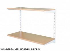 Wandregal - Grundregal 50 x 80 x 50 cm, 2 Fachboden - Farbe Weiss, Boden Buche