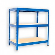 Metallregal mit Holzböden 45 x 120 x 120 cm - 3 Fachböden x 175kg, blau