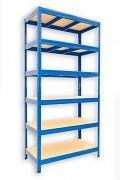 Metallregal mit Holzböden 60 x 120 x 180 cm - 6 Fachböden x 175kg, blau