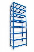 Metallregal mit Weißböden 45 x 120 x 270 cm - 8 Fachböden x 175 kg, blau