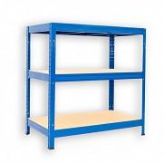 Metallregal mit Holzböden 35 x 90 x 120 cm - 3 Fachböden x 275kg, blau