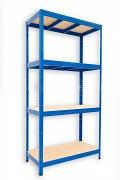 Metallregal mit Holzböden 35 x 90 x 180 cm - 4 Fachböden x 275kg, blau