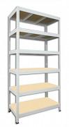 Metallregal mit Holzböden 35 x 90 x 180 cm - 6 Fachböden x 275kg, weiß