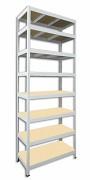 Metallregal mit Holzböden 35 x 90 x 240 cm - 8 Fachböden x 275kg, weiß