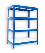 Metallregal mit Weißböden 35 x 90 x 90 cm - 4 Fachböden x 275 kg, blau