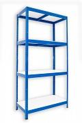Metallregal mit Weißböden 35 x 90 x 180 cm - 4 Fachböden x 175 kg, blau