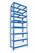 Metallregal mit Weißböden 35 x 90 x 240 cm - 8 Fachböden x 175 kg, blau