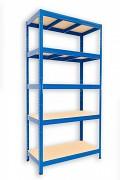 Metallregal mit Holzböden 35 x 90 x 180 cm - 5 Fachböden x 275kg, blau