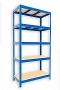 Metallregal mit Holzböden 60 x 90 x 180 cm - 6 Fachböden x 275kg, blau