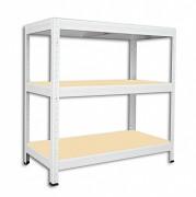 Metallregal mit Holzböden 35 x 75 x 120 cm - 3 Fachböden x 175kg, weiß