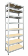 Metallregal mit Holzböden 35 x 75 x 210 cm - 8 Fachböden x 175kg, weiß