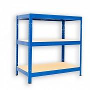 Metallregal mit Holzböden 35 x 75 x 90 cm - 3 Fachböden x 175kg, blau