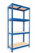 Metallregal mit Holzböden 35 x 75 x 180 cm - 4 Fachböden x 175kg, blau
