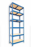 Metallregal mit Holzböden 35 x 75 x 210 cm - 6 Fachböden x 175kg, blau