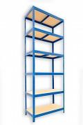 Metallregal mit Holzböden 35 x 75 x 240 cm - 6 Fachböden x 175kg, blau