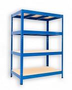 Metallregal mit Holzböden 35 x 75 x 90 cm - 4 Fachböden x 275kg, blau