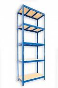 Metallregal mit Holzböden 35 x 75 x 210 cm - 5 Fachböden x 275kg, blau