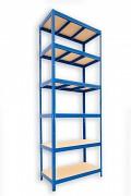Metallregal mit Holzböden 35 x 75 x 210 cm - 6 Fachböden x 275kg, blau
