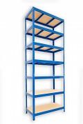 Metallregal mit Holzböden 35 x 75 x 210 cm - 7 Fachböden x 275kg, blau