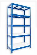 Metallregal mit Weißböden 35 x 90 x 180 cm - 5 Fachböden x 275 kg, blau
