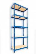 Metallregal mit Holzböden 50 x 90 x 210 cm - 5 Fachböden x 175kg, blau
