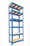 Metallregal mit Holzböden 50 x 90 x 270 cm - 6 Fachböden x 275kg, blau
