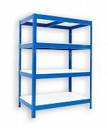 Metallregal mit Weißböden 35 x 75 x 90 cm - 4 Fachböden x 175 kg, blau