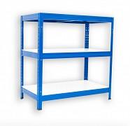 Metallregal mit Weißböden 35 x 75 x 120 cm - 3 Fachböden x 175 kg, blau