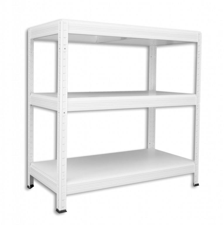 Metallregal weiß  Metallregal mit Weißböden 35 x 75 x 120 cm - 3 Fachböden x 175kg ...