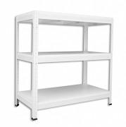 Metallregal mit Weißböden 35 x 75 x 90 cm - 3 Fachböden x 275kg, weiß