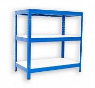 Metallregal mit Weißböden 35 x 75 x 120 cm - 3 Fachböden x 275 kg, blau