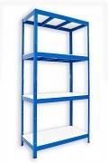 Metallregal mit Weißböden 35 x 75 x 180 cm - 4 Fachböden x 275 kg, blau
