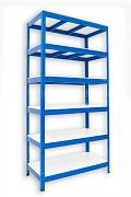 Metallregal mit Weißböden 35 x 75 x 180 cm - 6 Fachböden x 275 kg, blau