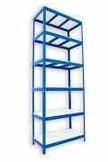 Metallregal mit Weißböden 35 x 75 x 210 cm - 6 Fachböden x 275 kg, blau