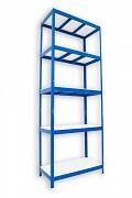 Metallregal mit Weißböden 35 x 75 x 240 cm - 5 Fachböden x 275 kg, blau