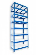Metallregal mit Weißböden 35 x 75 x 240 cm - 8 Fachböden x 275 kg, blau