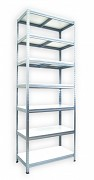 Metallregal mit Weißböden 50 x 90 x 210 cm - 7 Fachböden x 175 kg, verzinkt