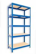 Metallregal mit Holzböden 35 x 60 x 180 cm - 5 Fachböden x 175kg, blau