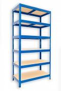 Metallregal mit Holzböden 35 x 60 x 180 cm - 6 Fachböden x 175kg, blau