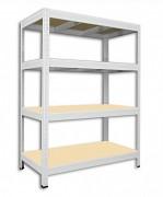 Metallregal mit Holzböden 35 x 120 x 120 cm - 4 Fachböden x 175kg, weiß