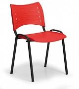 Konferenzstuhl - Kunststoff, rot Biedrax Z9118CV, Fußgestell schwarz