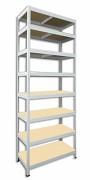 Metallregal mit Holzböden 45 x 75 x 270 cm - 8 Fachböden x 175 kg, weiß