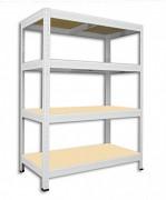 Metallregal mit Holzböden 50 x 75 x 120 cm - 4 Fachböden x 175 kg, weiß