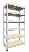 Metallregal mit Holzböden 50 x 75 x 180 cm - 6 Fachböden x 175 kg, weiß
