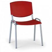 Konferenzstuhl - Kunststoff, rot Biedrax Z8988CV, Fußgestell grau