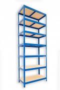 Metallregal mit Holzböden 35 x 60 x 240 cm - 7 Fachböden x 175kg, blau