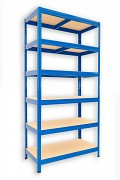 Metallregal mit Holzböden 45 x 60 x 180 cm - 6 Fachböden x 175kg, blau